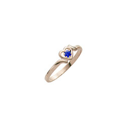 Toddler Birthstone Rings - 14K Yellow Gold Girls September Blue Sapphire Birthstone Ring - Size 3½ - Perfect for Toddlers and Grade School Girls - BEST SELLER/
