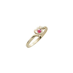 Toddler Birthstone Rings - 14K Yellow Gold Girls October Pink Tourmaline Birthstone Ring - Size 3½ - Perfect for Toddlers and Grade School Girls - BEST SELLER/