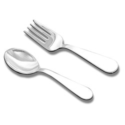Best Baby Shower Gifts - Baby's First Spoon and Fork Set - Engravable Sterling Silver Baby Spoon and Fork Set by My First Gifts™ - 2 Item Set/