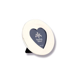 For My Most Cherished Moments™ - Engravable Sterling Silver Round Picture Frame with a Heart-Shaped Window - 3 3/4
