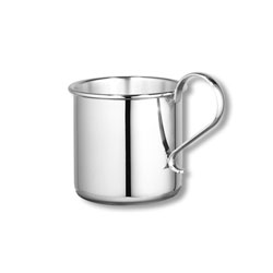 Heirloom Baby Gifts - Heirloom Quality Heavy Gauge Engravable Sterling Silver Baby Cup with Plain Handle - Personalize the front and back - 2 1/4