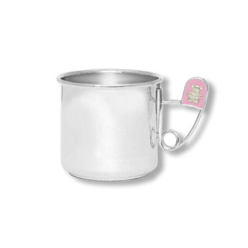 "Heirloom Baby Gifts - Heirloom Quality Heavy Gauge Engravable Sterling Silver Baby Cup with Pink Diaper Pin Handle - Personalize the front and back - 2"" Tall - BEST SELLER"