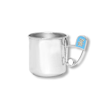 "Heirloom Baby Gifts - Heirloom Quality Heavy Gauge Engravable Sterling Silver Baby Cup with Blue Diaper Pin Handle - Personalize the front and back - 2"" Tall - BEST SELLER"