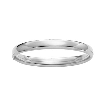 "Fine Jewelry for Mom - 8mm High Polished Sterling Silver Rhodium Bangle Bracelet for Women - Size 7.25"" - BEST SELLER"