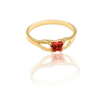 Teeny Tiny Butterfly Ring for Girls by Bfly® - January Garnet CZ Birthstone - 10K Yellow Gold Child Ring - Size 3 (3 - 8 years) - BEST SELLER
