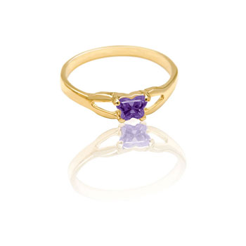 Teeny Tiny Butterfly Ring for Girls by Bfly® - February Amethyst CZ Birthstone - 10K Yellow Gold Child Ring - Size 3 (3 - 8 years)