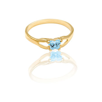 Teeny Tiny Butterfly Ring for Girls by Bfly® - March Aquamarine CZ Birthstone - 10K Yellow Gold Child Ring - Size 3 (3 - 8 years)