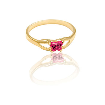 Teeny Tiny Butterfly Ring for Girls by Bfly® - July Ruby CZ Birthstone - 10K Yellow Gold Child Ring - Size 3 (3 - 8 years)