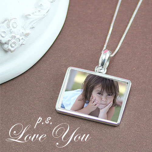 "p.s. I Love You™ Photo Necklace - Sterling Silver Rectangular Photo Pendant - Engravable on back - Includes a 14"" 1.5mm Grow-With-Me® chain - Adjustable at 14"", 13"", 12"" - Photo Services Extra"