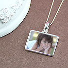 p.s. I Love You™ Photo Necklace - Sterling Silver Rectangular Photo Pendant - Engravable on back - Includes a 14