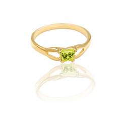 Teeny Tiny Butterfly Ring for Girls by Bfly® - August Peridot CZ Birthstone - 10K Yellow Gold Child Ring - Size 3 (3 - 8 years)/