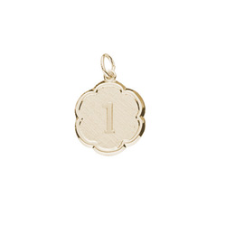 1st Birthday Gift Keepsake Charm for Girls and Boys - 14K Yellow Gold/