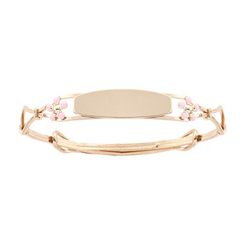 Keepsake Adjule Bracelets Pink Flowers 14k Yellow Gold Flower Bangle Bracelet Engravable On