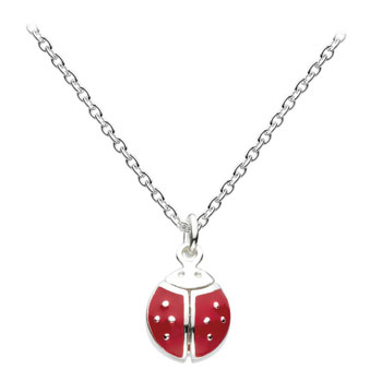 "Red Ladybug - Sterling Silver Rhodium Girls Ladybug Necklace - 14"" Chain Adjustable to 12"" - with wings that open"