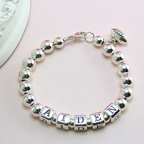 Classic Silver - Boy's sterling silver name baby bracelet - Grow-With-Me® designer baby bracelet - Personalize with birthstones & charms