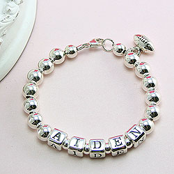 Classic Silver - Boy's sterling silver name baby bracelet - Grow-With-Me® designer baby bracelet - Personalize with birthstones & charms/