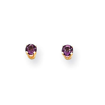 February Birthstone 14K Yellow Gold Earrings for Tweens, Teens, and Women - 5mm Genuine Amethyst Gemstone - Push back posts