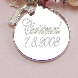 A Christening Remembered - Rembrandt Sterling Silver Medium Round Charm (35 Series) – Engravable on front and back - Add to a bracelet or necklace /