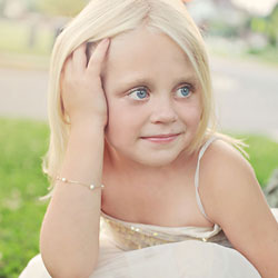 Beautifully Elegant Little Girls Pearl Station Bracelet - 3mm Freshwater Cultured Pearls - 14K Yellow Gold - 6.25