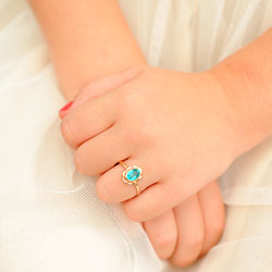 Girl's Birthstone Rings - 10K Yellow Gold Girls Synthetic December Blue Zircon Birthstone Ring - Size 5 1/2 - Perfect for Grade School Girls, Tweens, or Teens/