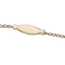 Keepsake Girls ID Bracelets - 14K Yellow Gold Engravable Heart ID Bracelet - Engravable on front - Size 6.5