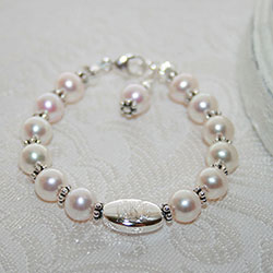 Sophisticated Baby in Pearls™ by My First Pearls® – Grow-With-Me® designer original freshwater cultured pearl bracelet – Personalize with gemstones & charms/