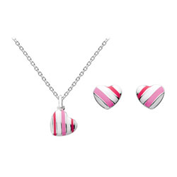 Girl's Sterling Silver Candy Stripe Earring and Necklace Set - 2 Item Set - Save $15 with this set/