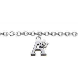 Girls Initial A - Sterling Silver Girls Initial Bracelet - Includes one Genuine Diamond Accented Initial A Charm - Add an optional engravable charm to personalize/