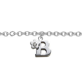 Girls Initial B - Sterling Silver Girls Initial Bracelet - Includes one Genuine Diamond Accented Initial B Charm - Add an optional engravable charm to personalize
