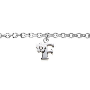 Girls Initial F - Sterling Silver Girls Initial Bracelet - Includes one Genuine Diamond Accented Initial F Charm - Add an optional engravable charm to personalize