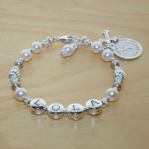 Pearls of Grace™ by My First Pearls® Baby Bracelet – Grow-With-Me® designer original freshwater cultured pearl name baby bracelet – Personalize with gemstones & charms