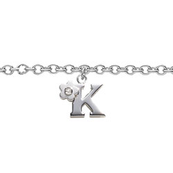 Girls Initial K - Sterling Silver Girls Initial Bracelet - Includes one Genuine Diamond Accented Initial K Charm - Add an optional engravable charm to personalize/