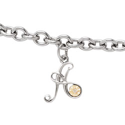 Girls Script Initial A - Sterling Silver Girls Initial Bracelet - Includes one Genuine Diamond and 14K Yellow Gold Accented Initial A Charm - Add an optional engravable charm to personalize/