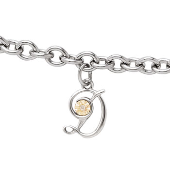 Girls Script Initial D - Sterling Silver Girls Initial Bracelet - Includes one Genuine Diamond and 14K Yellow Gold Accented Initial D Charm - Add an optional engravable charm to personalize