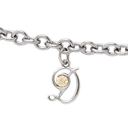 Girls Script Initial D - Sterling Silver Girls Initial Bracelet - Includes one Genuine Diamond and 14K Yellow Gold Accented Initial D Charm - Add an optional engravable charm to personalize/