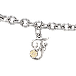 Girls Script Initial F - Sterling Silver Girls Initial Bracelet - Includes one Genuine Diamond and 14K Yellow Gold Accented Initial F Charm - Add an optional engravable charm to personalize/