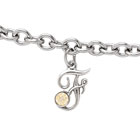 Girls Script Initial F - Sterling Silver Girls Initial Bracelet - Includes one Genuine Diamond and 14K Yellow Gold Accented Initial F Charm - Add an optional engravable charm to personalize