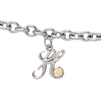 Girls Script Initial H - Sterling Silver Girls Initial Bracelet - Includes one Genuine Diamond and 14K Yellow Gold Accented Initial H Charm - Add an optional engravable charm to personalize