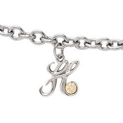 Girls Script Initial H - Sterling Silver Girls Initial Bracelet - Includes one Genuine Diamond and 14K Yellow Gold Accented Initial H Charm - Add an optional engravable charm to personalize/