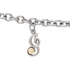 Girls Script Initial I - Sterling Silver Girls Initial Bracelet - Includes one Genuine Diamond and 14K Yellow Gold Accented Initial I Charm - Add an optional engravable charm to personalize