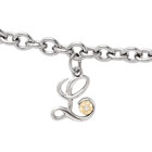 Girls Script Initial L - Sterling Silver Girls Initial Bracelet - Includes one Genuine Diamond and 14K Yellow Gold Accented Initial L Charm - Add an optional engravable charm to personalize
