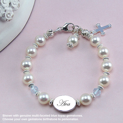 Baby / Little Girl Pearl Bracelet - Free Engraving