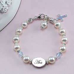 Baby / Little Girl Pearl Bracelet - Free Engraving/