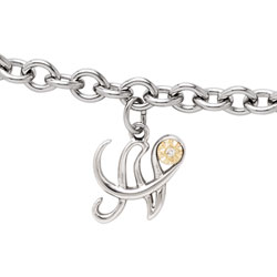 Girls Script Initial N - Sterling Silver Girls Initial Bracelet - Includes one Genuine Diamond and 14K Yellow Gold Accented Initial N Charm - Add an optional engravable charm to personalize/