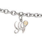 Girls Script Initial N - Sterling Silver Girls Initial Bracelet - Includes one Genuine Diamond and 14K Yellow Gold Accented Initial N Charm - Add an optional engravable charm to personalize