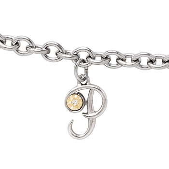 Girls Script Initial P - Sterling Silver Girls Initial Bracelet - Includes one Genuine Diamond and 14K Yellow Gold Accented Initial P Charm - Add an optional engravable charm to personalize