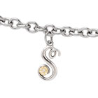 Girls Script Initial S - Sterling Silver Girls Initial Bracelet - Includes one Genuine Diamond and 14K Yellow Gold Accented Initial S Charm - Add an optional engravable charm to personalize