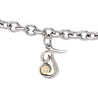 Girls Script Initial T - Sterling Silver Girls Initial Bracelet - Includes one Genuine Diamond and 14K Yellow Gold Accented Initial T Charm - Add an optional engravable charm to personalize