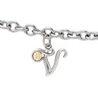Girls Script Initial V - Sterling Silver Girls Initial Bracelet - Includes one Genuine Diamond and 14K Yellow Gold Accented Initial V Charm - Add an optional engravable charm to personalize