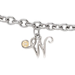 Girls Script Initial W - Sterling Silver Girls Initial Bracelet - Includes one Genuine Diamond and 14K Yellow Gold Accented Initial W Charm - Add an optional engravable charm to personalize/